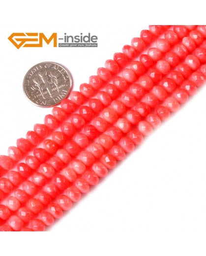 "G3451 Pink 4x6mm Rondelle Faceted Coral Beads Jewelry Making Gemstone Beads Strand 15"" Natural Stone Beads for Jewelry Making Wholesale"