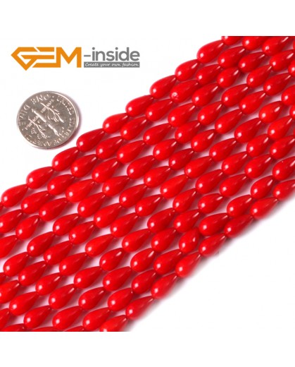 """G3459 5x9mm Red Drop Coral Beads Jewelry Making Gemstone Loose Beads Strand 15"""" Natural Stone Beads for Jewelry Making Wholesale"""