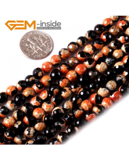 "G3539 Orange 6mm Round Faceted Fire Agate Gemstone Loose Beads Strand 15""Jewelry Making Beads Natural Stone Beads for Jewelry Making Wholesale"