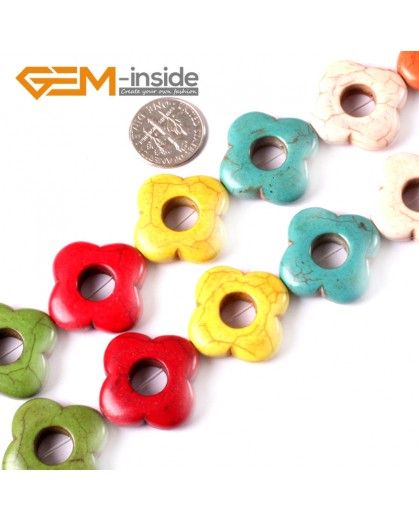 "G3620 25mm Flower Gemstone Dyed Mixed-Color DIY Jewelry Crafts Making Howlite Stone Beads 15""  Natural Stone Beads for Jewelry Making Wholesale"