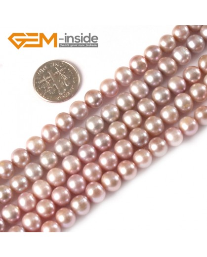 """G3781 purple 6-7mm Round Natural Freshwater Pearl Necklace Gemstone Loose Beads strand 15"""" Natural Stone Beads for Jewelry Making Wholesale"""