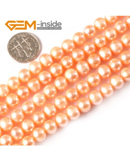 "G3782 pink 6-7mm Round Natural Freshwater Pearl Necklace Gemstone Loose Beads strand 15"" Natural Stone Beads for Jewelry Making Wholesale"