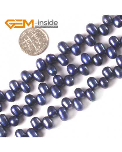 """G3788 blue 6-7mm potato shape freshwater pearl gemstone loose beads strand 15"""" Natural Stone Beads for Jewelry Making Wholesale"""