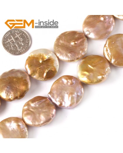 "G3809 champagne 20mm coin natural freshwater pearl beads gemstone loose strand 15"" Natural Stone Beads for Jewelry Making Wholesale"