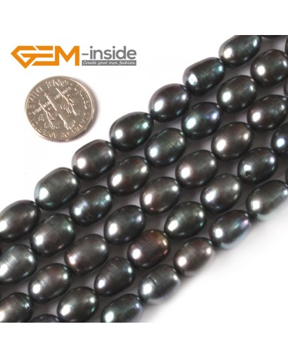 "G3815 black 9-10mm Potato Shape Natural Cultured Pearl Gemstone Loose Beads Strand 15"" Natural Stone Beads for Jewelry Making Wholesale"