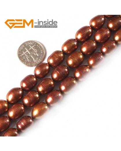 "G3821 brown 9-10mm Potato Shape Natural Cultured Pearl Gemstone Loose Beads Strand 15"" Natural Stone Beads for Jewelry Making Wholesale"
