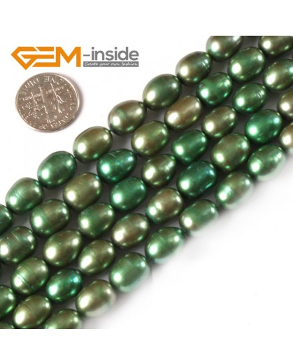 "G3822 green 9-10mm Potato Shape Natural Cultured Pearl Gemstone Loose Beads Strand 15"" Natural Stone Beads for Jewelry Making Wholesale"