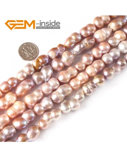 "G3842 PURPLE 11-14x15-20mm Freeform Peanut Shape Natural Freshwater Pearl Loose Beads 15"" Natural Stone Beads for Jewelry Making Wholesale"
