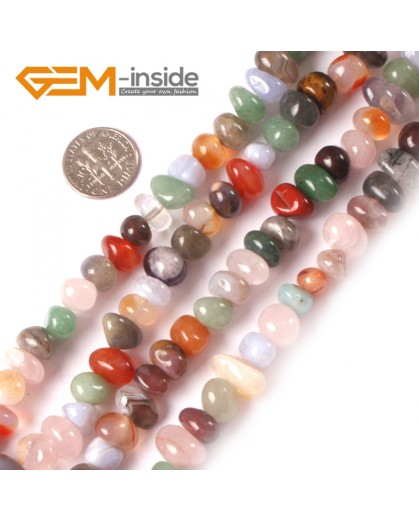 "G3981 mixed stone 8-10x12-14mm Freeform Potato Gemstone Jewelry Making Loose Beads Strand 15"" Natural Stone Beads for Jewelry Making Wholesale"