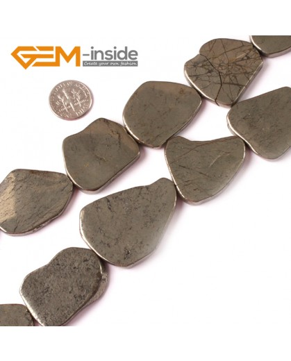"""G4018 30x40mm New freefrom silver gray pyrite DIY loose beads strand 15"""" Natural Stone Beads for Jewelry Making Wholesale"""