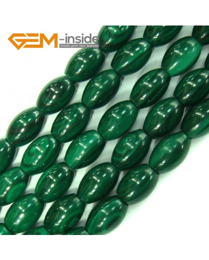 "G4130 6x9mm Olivary Gemstone Natural Grade A Malachite Beads Jewelry Making Loose Beads 15"" Natural Stone Beads for Jewelry Making Wholesale`"