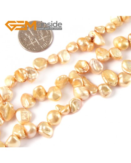 "G4164 Light Yellow 6x8mm Freeform Gemstone Freshwater Pearl Jewelry Making Beads Strand 15"" Natural Stone Beads for Jewelry Making Wholesale"