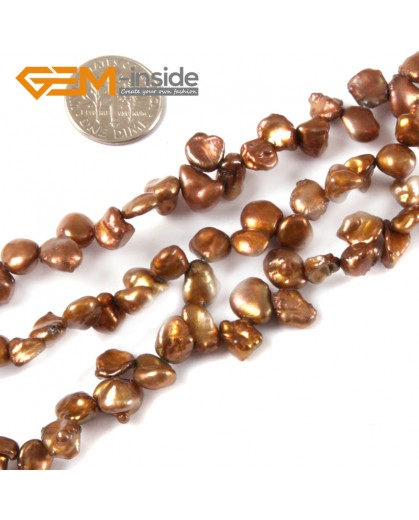 """G4165 Brown 6x8mm Freeform Gemstone Freshwater Pearl Jewelry Making Beads Strand 15"""" Natural Stone Beads for Jewelry Making Wholesale"""