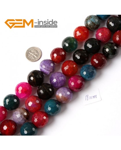"G4220 18mm Round Faceted Gemstone Mixed Color Agate Jewelry Making Loose Beads Strand 15"" Natural Stone Beads for Jewelry Making Wholesale"