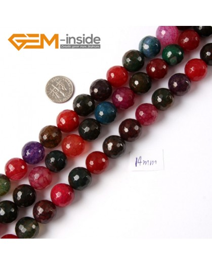 "G4222 14mm Round Faceted Gemstone Mixed Color Agate Jewelry Making Loose Beads Strand 15"" Natural Stone Beads for Jewelry Making Wholesale"