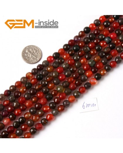 "G4226 6mm Round Faceted Gemstone Mixed Color Agate Jewelry Making Loose Beads Strand 15"" Natural Stone Beads for Jewelry Making Wholesale"