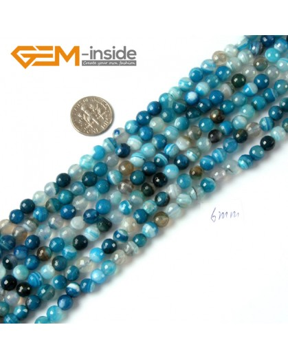"""G4239 6mm Round Faceted Gemstone Blue Banded Agate Crafts Making Beads Strand 15"""" Natural Stone Beads for Jewelry Making Wholesale"""