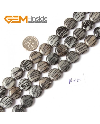 "G4305 14mm Coin Gemstone Black Web Jasper DIY Crafts Making Stone Beads Strand 15""  Natural Stone Beads for Jewelry Making Wholesale"