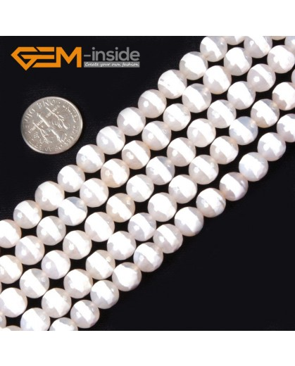 """G4364 8mm White Round Faceted Ring Line Color Gemstone Banded Agate Beads Strand 15"""" Natural Stone Beads for Jewelry Making Wholesale"""