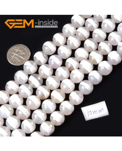 "G4365 White Round Faceted Strip Fire Agate Gemstone Loose Beads 15"" 10mm for Jewelry Making Natural Stone Beads for Jewelry Making Wholesale"
