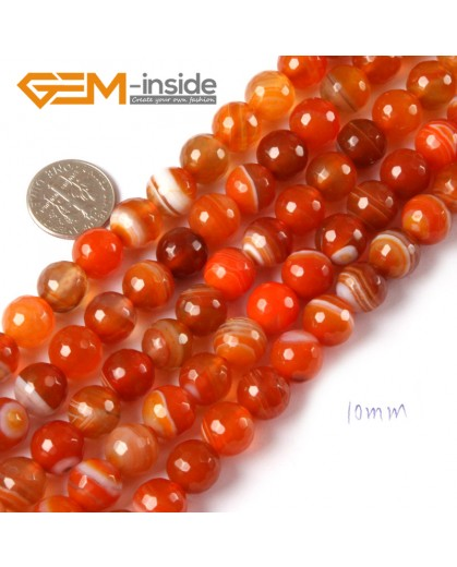 """G4366 10mm Round Faceted Gemstone Banded Orange Agate DIY Crafts Making Beads Strand 15"""" Natural Stone Beads for Jewelry Making Wholesale"""
