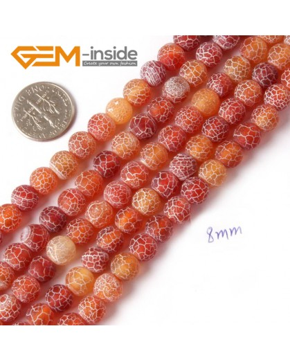 """G4368 8mm Round Frost Gemstone Red Agate DIY Crafts Jewelry Making Loose Beads Strand 15"""" Natural Stone Beads for Jewelry Making Wholesale"""