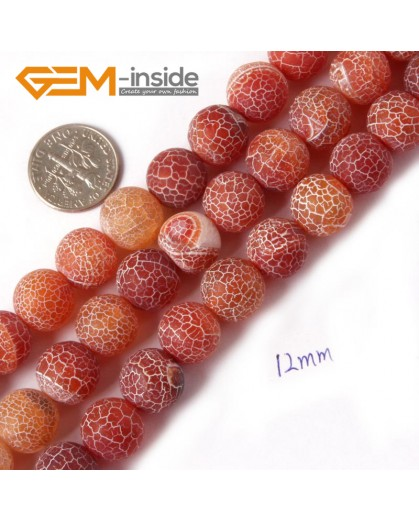 "G4370 12mm Round Frost Gemstone Red Agate DIY Crafts Jewelry Making Loose Beads Strand 15"" Natural Stone Beads for Jewelry Making Wholesale"