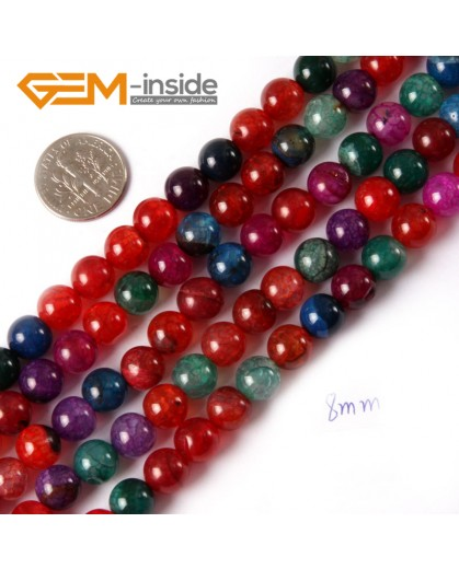 "G4448 8mm Round Gemstone Mixed Color Crackle Agate Jewelry Making Beads Strand 15"" Natural Stone Beads for Jewelry Making Wholesale"