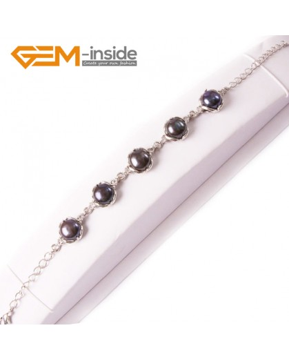 G4497 Black 9-10mm Freshwater Gemstone Pearl Beads White Gold Plated Bracelet Fashion Jewelry Jewellery Bracelets  for women
