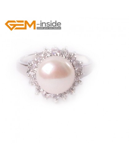 G4618 white 10mm freshwater pearl with rhinestone white gold plated beautiful ring  #7 - #8 Rings Fashion Jewelry Jewellery