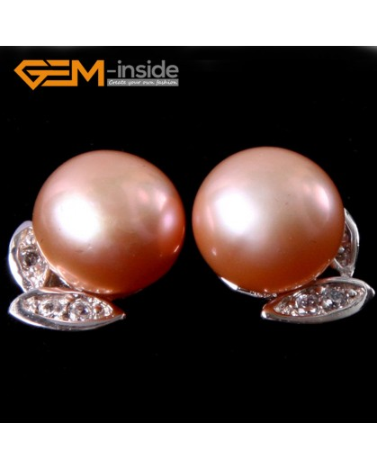 G4645 Pink Fashion pretty 9-10mm freshwater pearl white gold plate leaf frame stud earrings Ladies Earrings Fashion Jewelry Jewellery