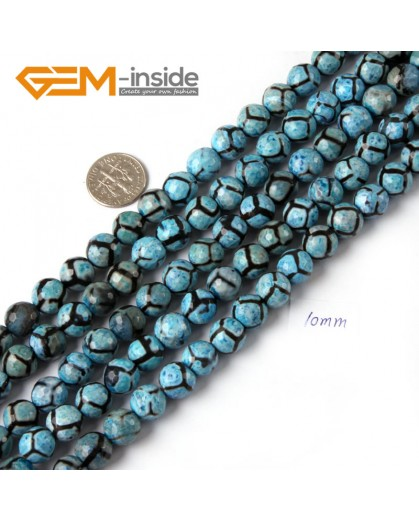 "G4709 Deep Blue 10mm Round Faceted Gemstone Football Color Fire Agate Loose Stone Beads 15"" Natural Stone Beads for Jewelry Making Wholesale"