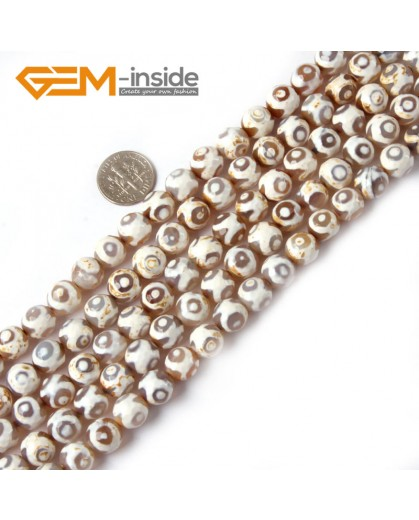 "G4710 White Eye 10mm Round Faceted Gemstone Fire Agate Loose Stone Beads 15"" Natural Stone Beads for Jewelry Making Wholesale"