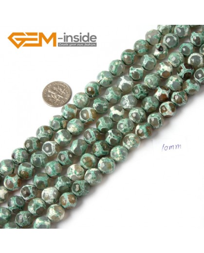 """G4711 Green 10mm Round Faceted Gemstone Football Color Fire Agate Loose Stone Beads 15"""" Natural Stone Beads for Jewelry Making Wholesale"""