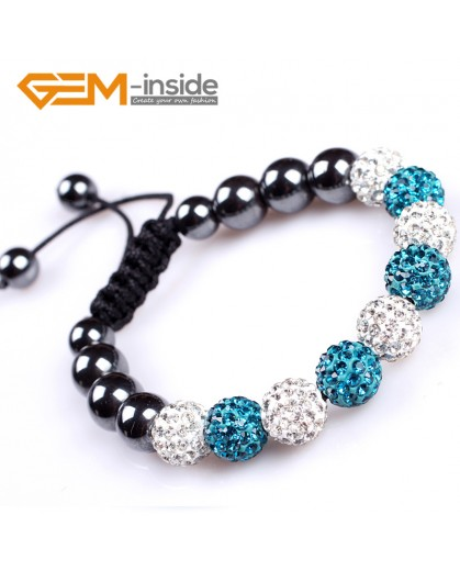 "G4859 multi color 10mm Shining Pave CZ Crystal Ball Hematite Beads Bracelet Adjustable 6-8"" Fashion Jewelry Jewellery Bracelets  for women"