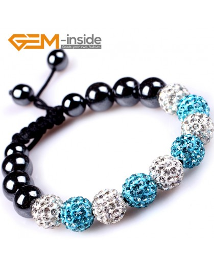 "G4862 white anf blue 10mm Shining Pave CZ Crystal Ball Hematite Beads Bracelet Adjustable 6-8"" Fashion Jewelry Jewellery Bracelets  for women"