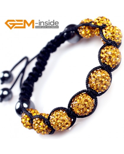 "G4881 yellow 10mm Fashion Bracelet Beads With Crystal Ball Beads Adjustable Size 6""-8"" Fashion Jewelry Jewellery Bracelets  for women"