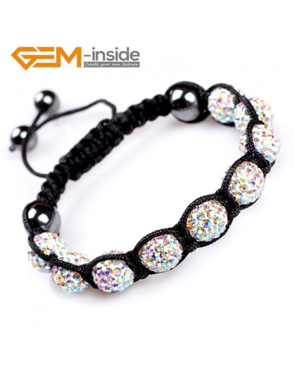 "G4897 AB white 10mm Fashion Bracelet Beads With Crystal Ball Beads Adjustable Size 6""-8"" Fashion Jewelry Jewellery Bracelets  for women"