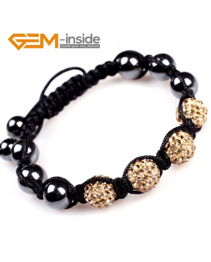 "G4917 golden 10mm Pave Rhinestones Crystal Ball 4 Beads Bracelet Adjustable size 6""-8"" Fashion Jewelry Jewellery Bracelets  for women"