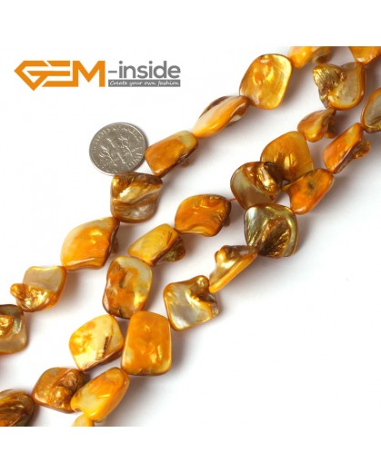 "G5321 Orange Free Shipping Freeform Sea Shell Loose Beads strand 15""Jewelery Making 15x20mm Natural Stone Beads for Jewelry Making Wholesale"