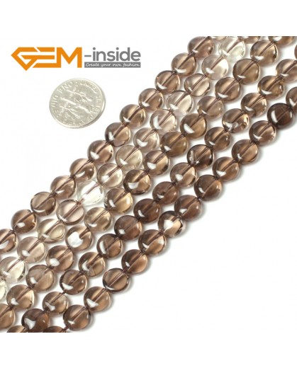 "G5441 8mm (Light)  Natural Coin  Smoky Quartz Beads Strand 15""Jewelry Making Gemstone Beads Natural Stone Beads for Jewelry Making Wholesale"