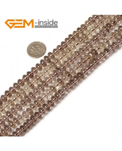 """G5455 5x8mm Light Rondelle Gemstone Smoky Quarz Jewelry Making Loose Beads 15"""" Natural Stone Beads for Jewelry Making Wholesale"""