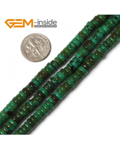 """G5475 2x6mm Natural Rondelle Gemstone Old Turquoise Jewelry Making Loose Beads strand 15"""" Natural Stone Beads for Jewelry Making Wholesale"""