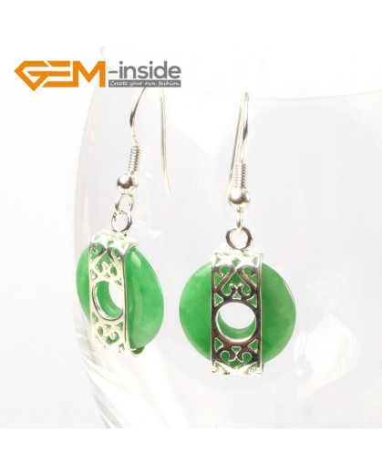 G5524 Green aventurine 16mm coin ring beads carved low silver dangle earrings fashion jewelery for girl Ladies Birthstone Earrings Fashion Jewelry Jewellery