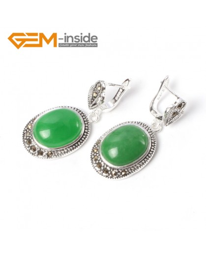 G5531 Green aventurine new 16x20mm oval beads carved tibetan silver dangle earrings fashion jewelery Ladies Birthstone Earrings Fashion Jewelry Jewellery