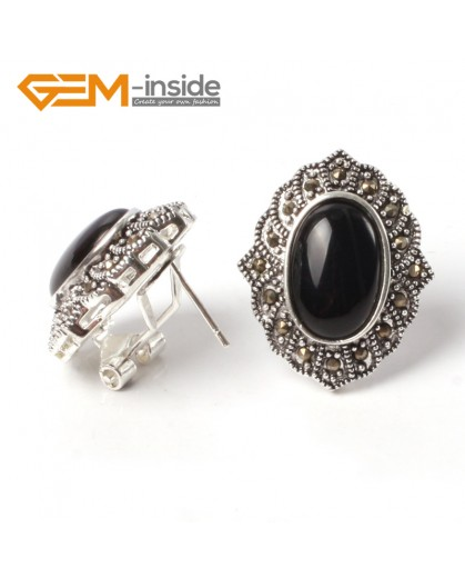 G5543 Black agate NEW 15x20mm oval beads tibetan silver stud earrings fashion Jewelry for women Ladies Birthstone Earrings Fashion Jewelry Jewellery