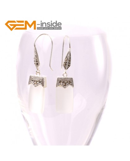 G5585 White cat eye 11x22mm rectangle beads tibetan silver dangle earrings fashion jewelery for girl Ladies Birthstone Earrings Fashion Jewelry Jewellery