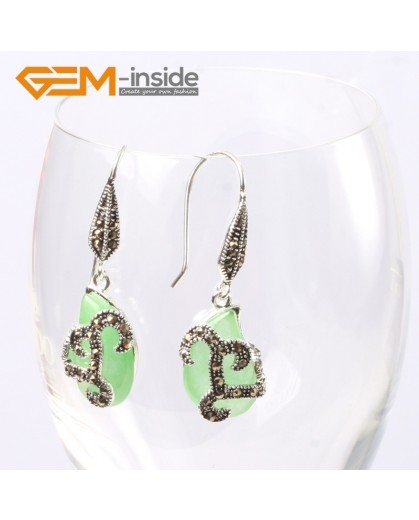 G5592 Green jade 12x18mm beads carved tibetan silver dangle earrings fashion jewelery for women Ladies Birthstone Earrings Fashion Jewelry Jewellery
