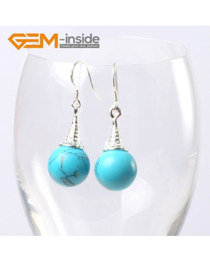 G5619 Dyed blue turquoise Fashion 10mm round ball beads tibetan silver dangle earrings for chritmas gift Ladies Birthstone Earrings Fashion Jewelry Jewellery