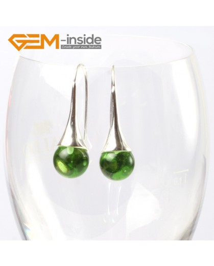 G5636 Green crystal Fashion 10mm round ball beads tibetan silver dangle earring for chritmas gift Ladies Birthstone Earrings Fashion Jewelry Jewellery